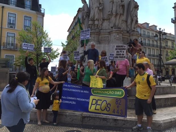 Manifestação em Lisboa, Portugal (Foto: André Luiz Azevedo/TV Globo)
