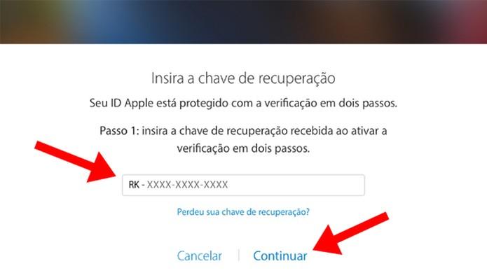 Use a chave que você guardou para recuperar acesso à conta (Foto: Reprodução/Paulo Alves)