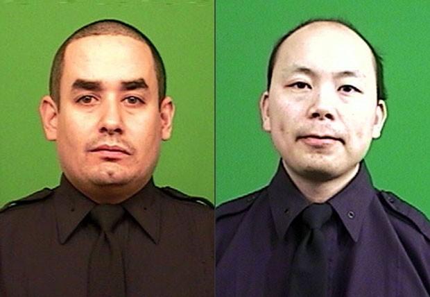 Rafael Ramos (esq) e Wnjian Liu foram mortos a sangue frio com tiros na cabeça (Foto: New York Police Department/AP)
