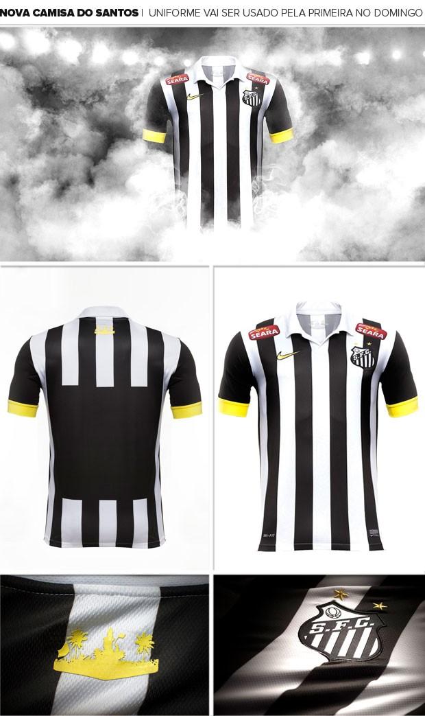 00e50c6e8f Santos estreia novo uniforme listrado no clássico contra Corinthians ...