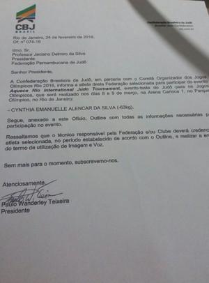 Convocação de Cynthia Silva para participar do evento teste para as Olimpíadas 2016 (Foto: Cynthia Silva / Arquivo pessoal)