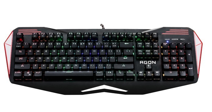 Teclado da linha Agon vem com iluminação e modos gamers personalizados (Foto: Divulgação/AOC)