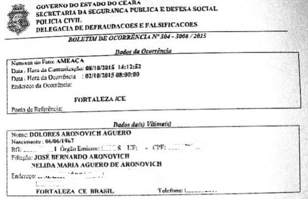 Boletim de Ocorrência registrado pela professora Lola Aronovich no início de outubro: site que a difama continua no ar (Foto: Reprodução / Escreva Lola Escreva)