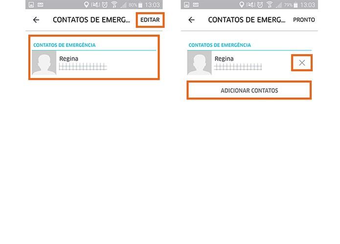É possível adicionar ou remover diversos contatos de emergência no Uber (Foto: Reprodução/Barbara Mannara)
