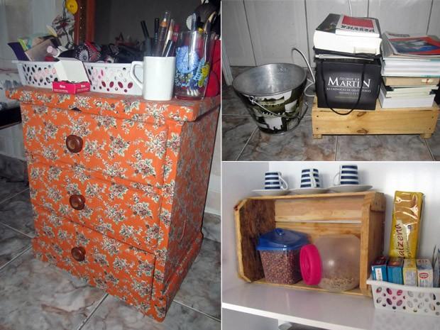 Ana Paula, que mora sozinha, usa a criatividade para reutilizar e incorporar móveis usados (Foto: Arquivo Pessoal)
