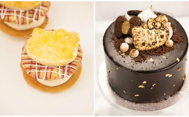 Biskies de torta de maça e Torta dos sonhos de chocolate, da Hello Kitty, em Londres (Foto: Divulgação)