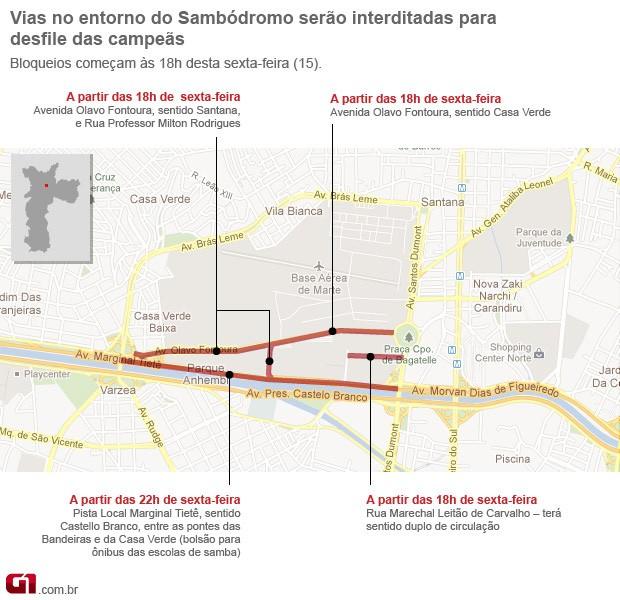 Mapa de interdições (Foto: Editoria de Arte/G1)