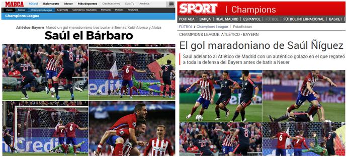 Saul Atlético de Madrid golaço imprensa espanhola (Foto: Reprodução)