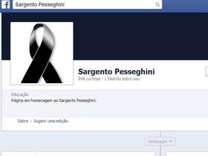 Página criada em homenagem a Luís Pesseghini no dia em que corpos foram encontrados, em agosto de 2013 (Foto: Reprodução/Facebook)