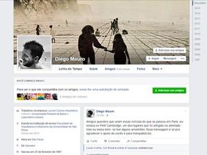 Diego Mauro, de 28 anos, postou mensagem em rede social para tranquilizar amigos  (Foto: Reprodução/Facebook)
