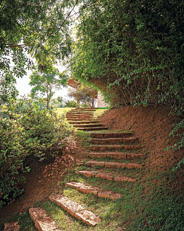 Caminho | Criado com blocos de granito rosa, o passeio começa na varanda e percorre todo o terreno. Em cima, maciço de jasmim-amarelo. Embaixo, azaleias (Foto: Gui Morelli)