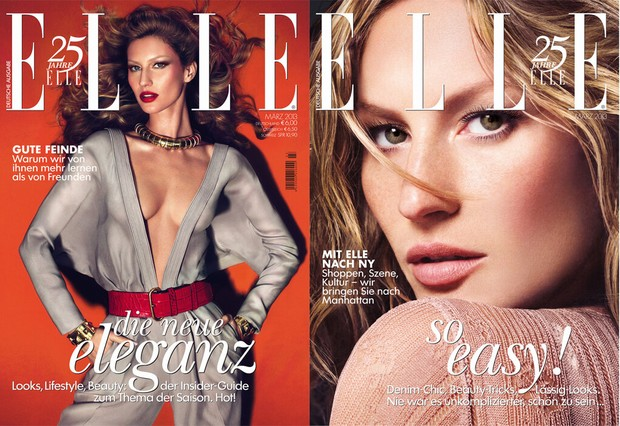Gisele B&#252;ndchen na capa da edi&#231;&#227;o de mar&#231;o da 'Elle' alem&#227; (Foto: Twitter / Reprodu&#231;&#227;o)