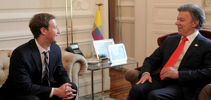 Zuckerberg encontrou o presidente da Colômbia em Bogotá (Foto: Divulgação)