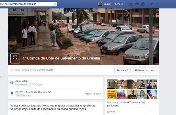 Página com convite para a 1ª Corrida de Bote de Salvamento de Brasília, marcada como crítica às inundações frequentes após chuva (Foto: Facebook/Reprodução)