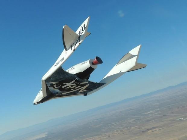 Aeronave espacial da Virgin Galactic, empresa de turismo espacial que aceita bitcoins como pagamento. (Foto: Divulgação/Virgin Galactic)