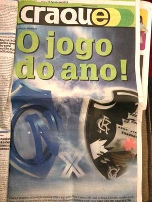 Reprodução jornais de Manaus para o jogo entre Nacional-AM e Vasco (Foto: Raphael Zarko)