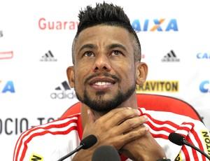 Léo Moura, Coletiva Flamengo (Foto: Gilvan de Souza / Flamengo)
