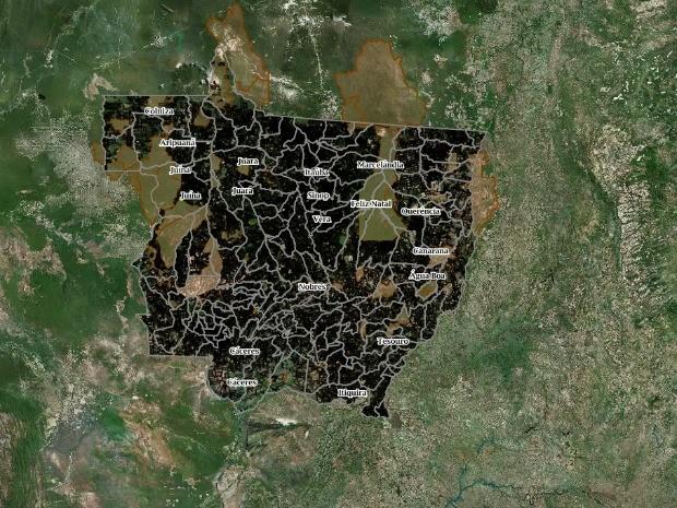 Levantamento da Sema, divulgado pela Opan, aponta sobreposição de pelo menos 13 terras indígenas em Mato Grosso por registros de imóveis rurais no CAR (Foto: Sema-Sicar/Reprodução)