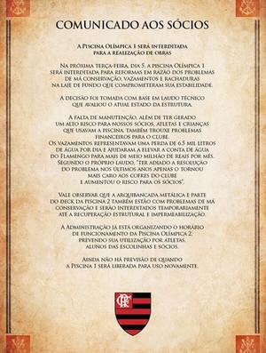 comunicado piscina interditada flamengo (Foto: Divulgação / Site Oficial do Flamengo)