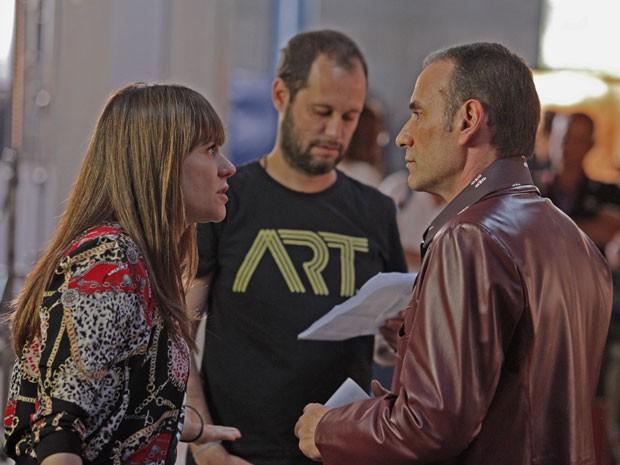 Alessandra Negrini e Marco Ricca em ensaio com diretor Pedro Pelegrino (Foto: Inácio Moraes/Gshow)