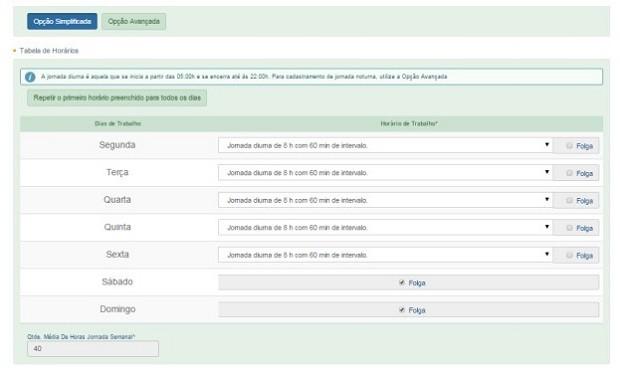 Sistema pede o detalhamento da jornada de trabalho, com detalhes como tempo de intervalo (Foto: Reprodução)