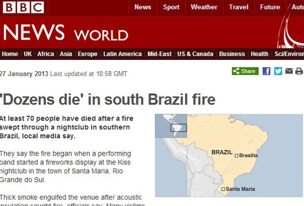 BBC relatou dezenas de mortos no RS (Foto: Reprodução)