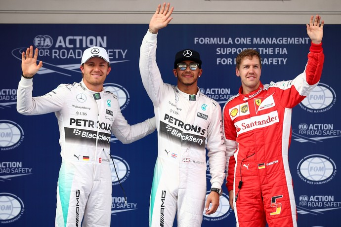 Nico Rosberg, Lewis Hamilton e Sebastian Vettel - treino classificatório GP da China - Fórmula 1 (Foto: Getty Images)