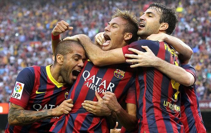 Neymar comemoração gol do Barcelona jogo Real Madrid (Foto: EFE)