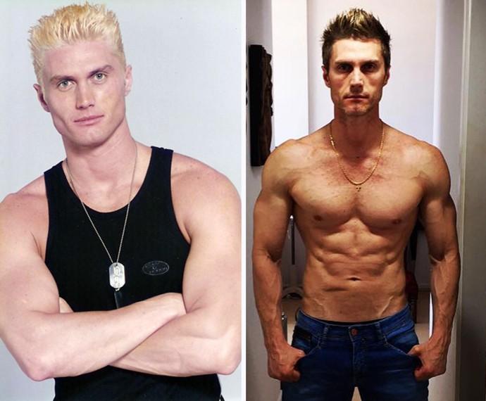 Sempre em forma! À esquerda, André Segatti na época de 'Malhação', e à direita, em foto publicada recentemente (Foto: Arquivo Pessoal)