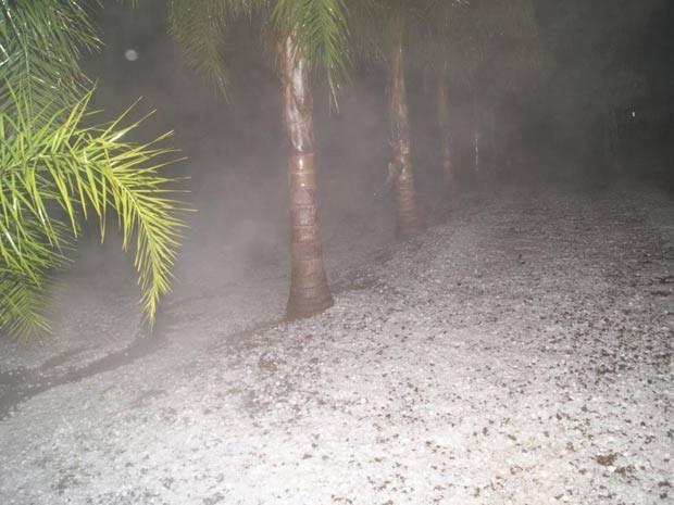 Chuva de granizo em Putinga, no Vale do Taquari (Foto: Lediane Ferreira/Divulgação, Prefeitura de Putinga)