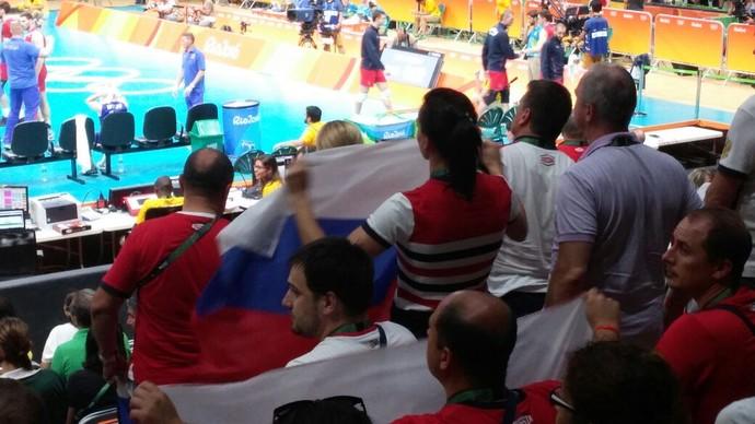 Yelena Isinbayeva jogo vôlei Brasil x Rússia semifinal rio 2016 (Foto: Felipe Siqueira)