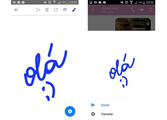 Aplicativo Doodle permite enviar escritas e desenhos no Messenger (Foto: Reprodução/Barbara Mannara)