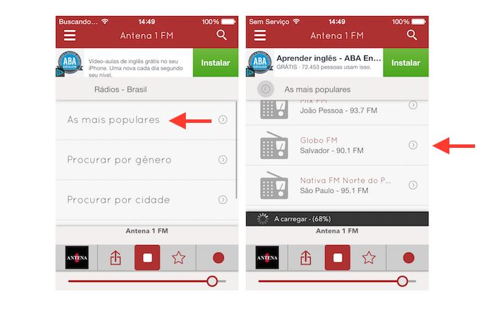 Iniciando uma rádio no iPhone com o myTuner Radio Brasil (Foto: Reprodução/Marvin Costa)