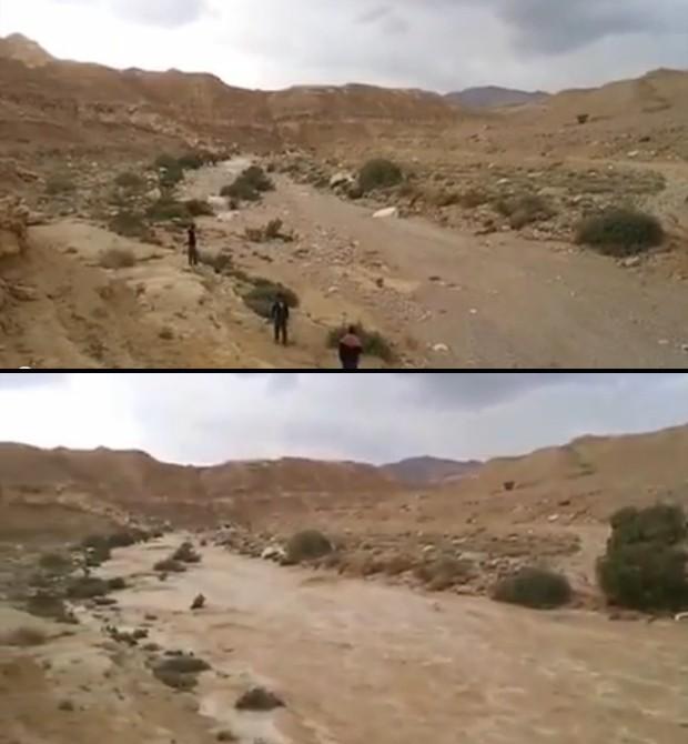 Acima, moradores esperam a água inundar o leito do Rio Zin, no deserto do Neguev; abaixo, a água já corre pelo rio, minutos depois (Foto: Reprodução/YouTube/דוד גל)