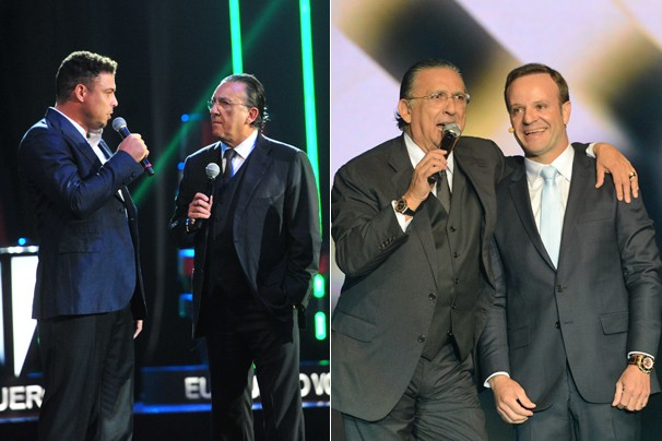 Galvão Bueno ao lado de nossos novos comentaristas: Ronaldo Fenômeno e Rubinho Barrichello (Foto: Alex Carvalho/Globo)