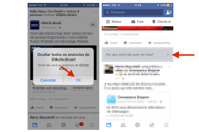 Confirmando a ocultação de um anúncio no Feed de Notícias do Facebook pelo iPhone (Foto: Reprodução/Marvin Costa)