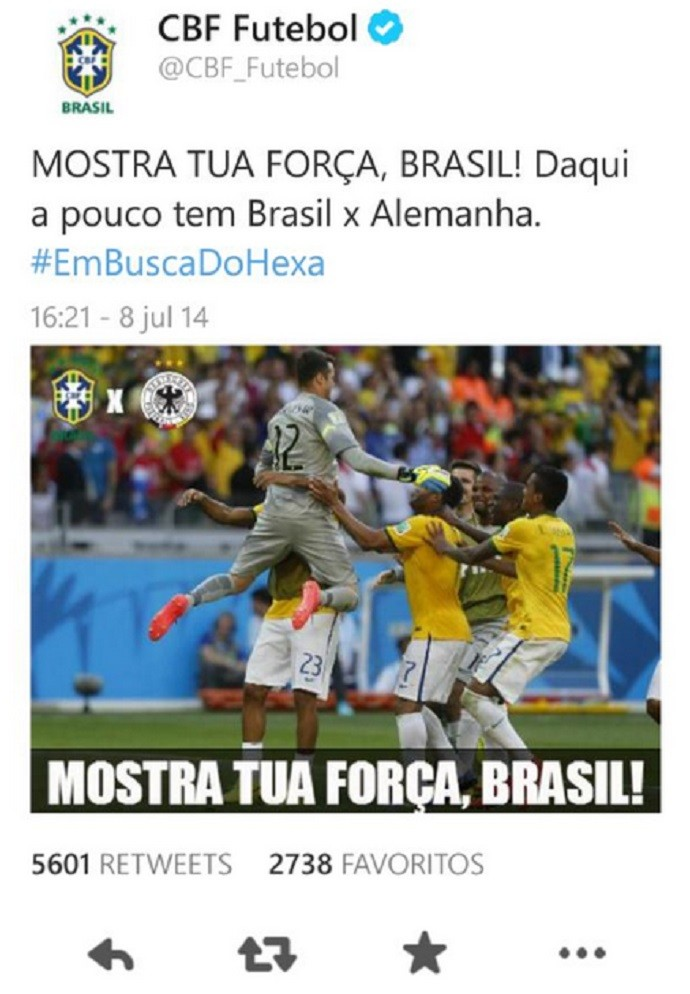 Twitter CBF 7 a 1 Alemanha goleada