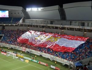 Bandeirão América-RN (Foto: Augusto Gomes/GloboEsporte.com)