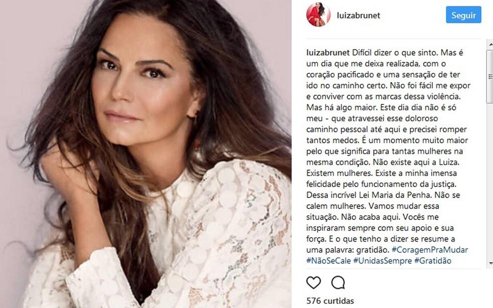 Luiza Brunet compartilha nota na noite desta segunda-feira sobre condenação de seu ex-namorado por agressão nesta segunda-feira (5) (Foto: Reprodução/Instagram)