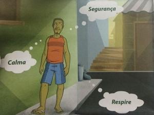Atitude calma é fundamental, segundo panfleto da Cruz Vermelha (Foto: Divulgação / Cruz Vermelha)
