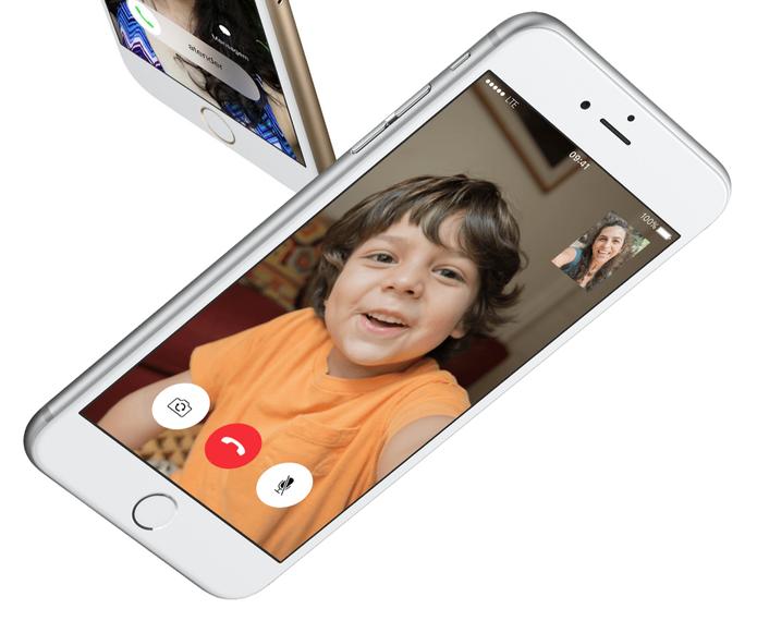 iPhone 6S branco na tela de recebimento de ligação (Foto: Divulgação/Apple)