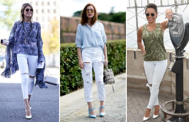 Saiba como usar o jeans branco para compor um look elegante (Foto: Imaxtree/Dimitrios Kambouris/Getty Images)