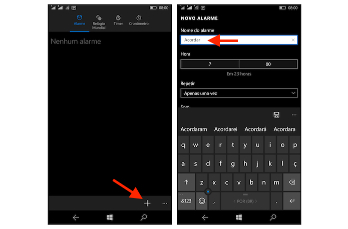 Iniciando a configuração de um novo alarme no Windows 10 Mobile (Foto: Reprodução/Marvin Costa)