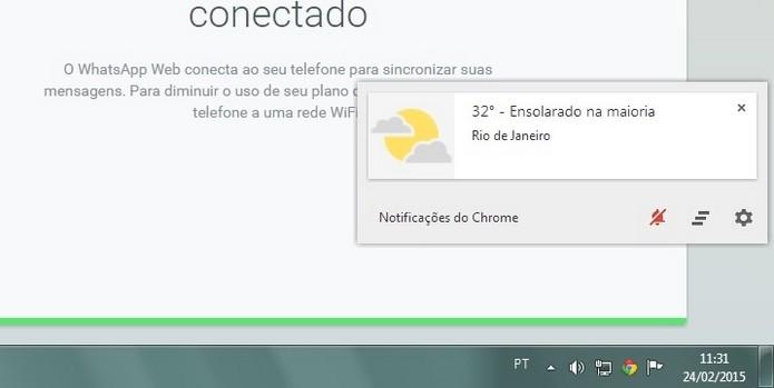 Botão Não perturbe, da Central de Notificações do Chrome, ativo (Foto: Reprodução/ Raquel Freire)