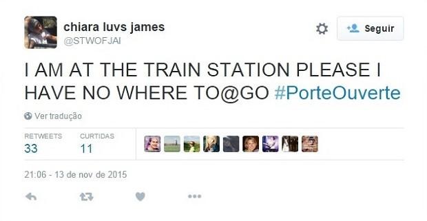 'Estou na estação de trem, por favor, não tenho lugar para ir', escreveu uma pessoa no Twitter (Foto: Reprodução/Twitter)