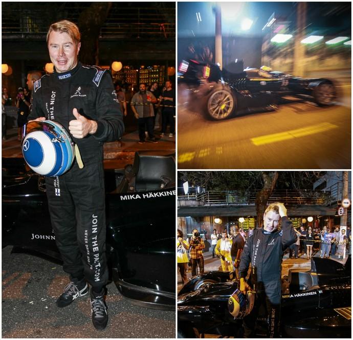 Mika Hakkinen em filmagem nas ruas de São Paulo (Foto: Raphael Castello/AgNews)