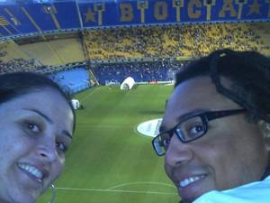 Leitor levou sua noiva para a Argentina apenas para assistir a um jogo de futebol. 'Foi uma loucura', diz. (Foto: Nelson José Tura Junior/VC no G1)