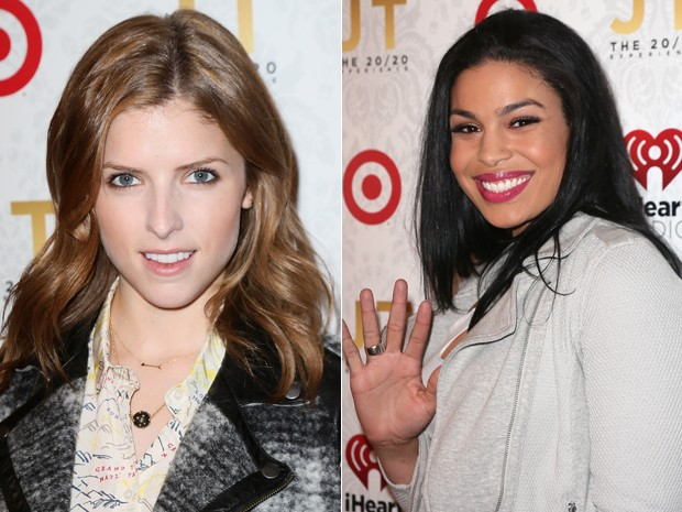 A atriz Anna Kendrick e a cantora Jordin Sparks no evento de lançamento do álbum 'The 20/20 experience', de Justin Timberlake (Foto: David Livingston/Getty Images/AFP)
