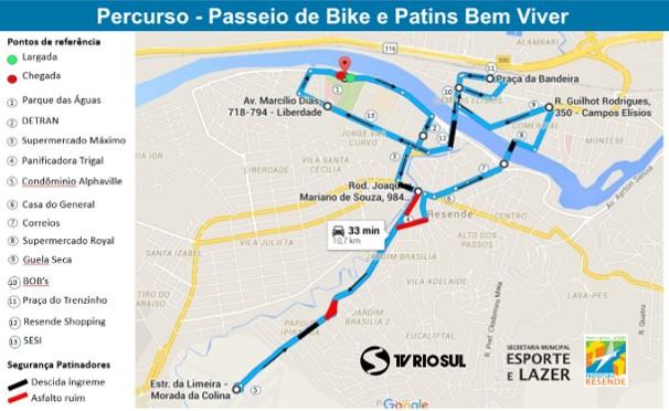 Mapa do Percurso do Passeio Bem Viver Bike e Patins (Foto: Divulgação)
