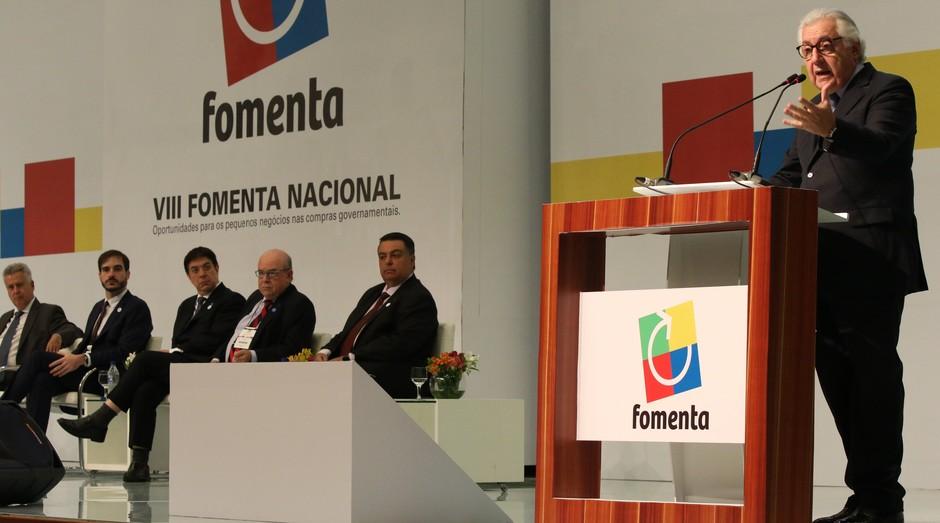 Guilherme Afif Domingos, presidente do Sebrae, durante o Fomenta (Foto: Tripé Fotos)
